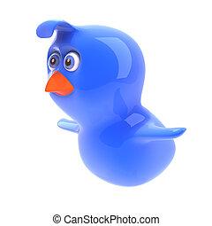 3d Blue bird flying