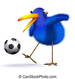 3d Blue bird football