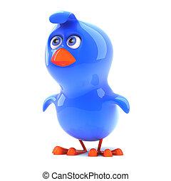3d Blue bird is alert