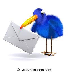 3d Blue bird letter