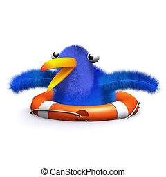 3d Blue bird rescue - 3d render of a blue bird in a lifering