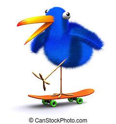 3d Blue bird skateboard