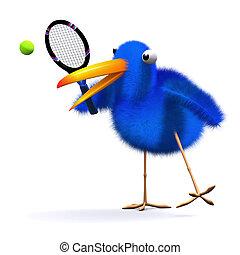 3d Blue bird tennis