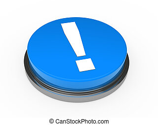 3d blue button exclamation mark