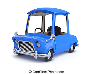 3d Blue cartoon style car top view
