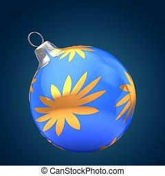 3d blue Christmas ball