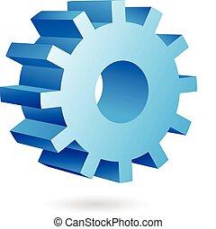 3d blue cog