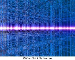 3D Blue Crystal Grid
