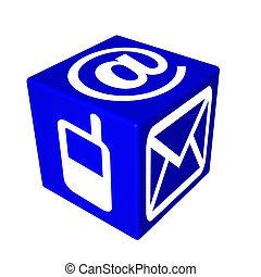 3d blue cube box web