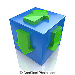 3D blue cube with an arrow pointing the direction. Concept illustration