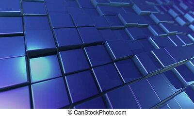 """""""3D blue design cubes placed aslant """""""