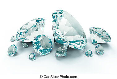 Blue Diamonds isolated on white