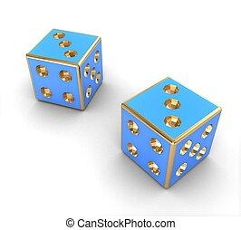 3d Blue dice