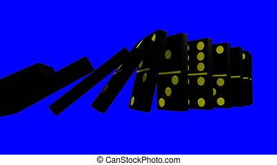 3D blue dominos against blue back