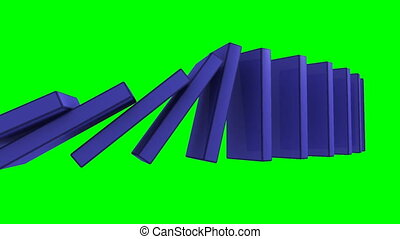 3D blue dominos falling green back