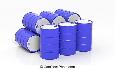 3D blue drums/barrels in stacks, isolated on white background