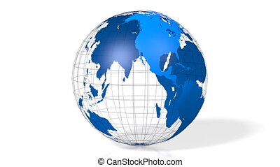 3D blue Earth/ globe/ world map with all continents