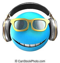 3d blue emoticon smile