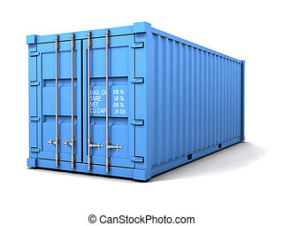 3d Blue freight container