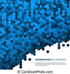 3D Blue geometric background with polygons. Vector illustration for your design