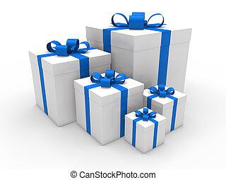 3d blue gift box christmas