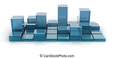 glass cubes - 3d blue glass cubes on white background.