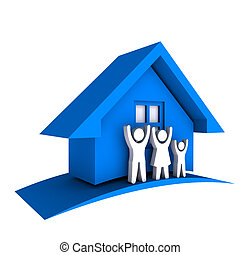 3D Blue house with Family