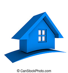 3D Blue House with Swoosh