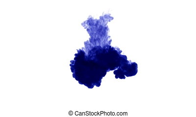 3d blue ink in water 24 - blue ink on white background.