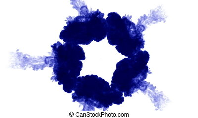 3d blue ink in water. circular structure 7