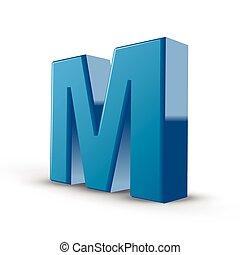 3d blue letter M