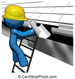 3d Blue Man Replacing Gutters - 3d Blue Man replacing...