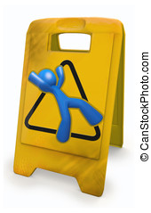 3d Blue Man Yellow Caution Sign - 3d Blue Man and a yellow...