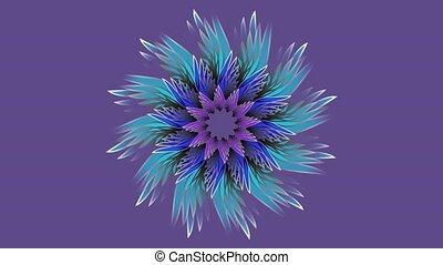 3d blue mandala rotating on ultraviolet background.
