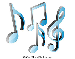 3D blue music notes