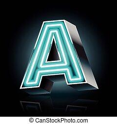 3d blue neon light letter A