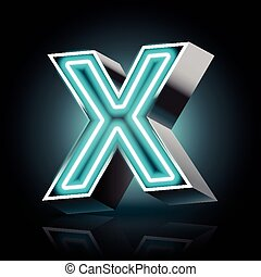 3d blue neon light letter X