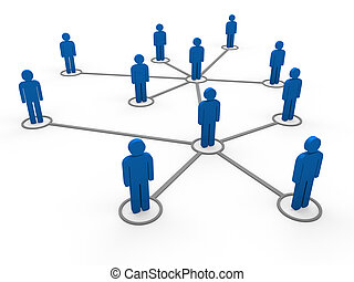 3d blue network team - 3d blue social network community men...