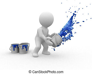 3d blue painter - 3d painter human that throw a big blue...