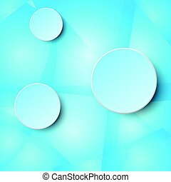 3d blue paper circle label on glass mosaic blue abstract design background concept