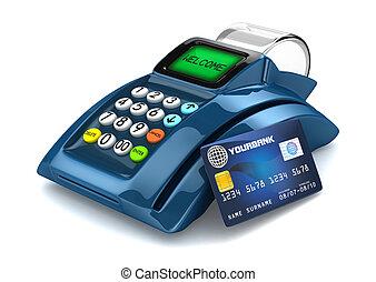 3D Blue POS-Terminal with Credit Card