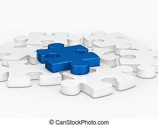 3d blue puzzle piece