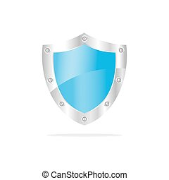 3D Blue security shield on a white background