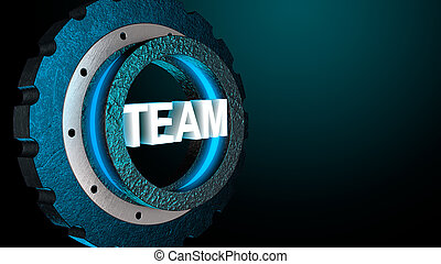 3D blue shine gear with word team. Business concept, copy space. 3D rendering