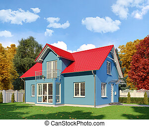 3d - blue single family house - autumn - day