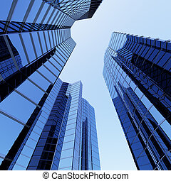 3D blue sky scrapers and blue sky above