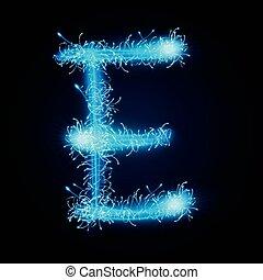 3d blue sparkler firework letter E