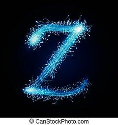 3d blue sparkler firework letter Z isolated on black background