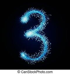 3d blue sparkler firework number 3