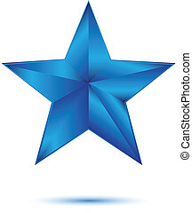 3D blue star on white